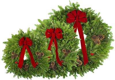 Three Rivers Local Pickup Traditional Wreaths in Multiple Sizes
