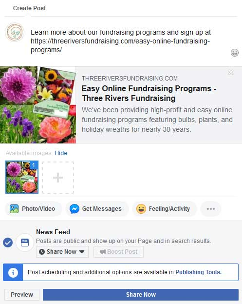 Step 1 Graphic: Controlling Facebook images when you Create a post