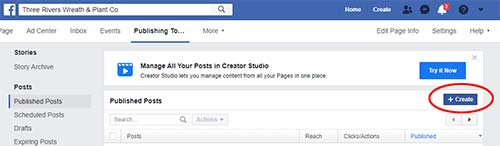 Controlling Facebook images using the Create button in Publishing Tools